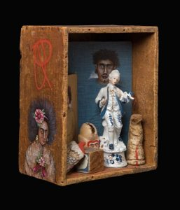 "#509 - BOX OF FOOLS 9 1/2 x 12 Depth 6"" Acrylic and found objects in Vintage Ammunition Box"